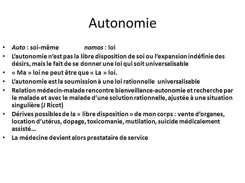 Autonomie Auto : soi-même nomos : loi Lautonomie nest pas la libre disposition de soi ou lexpansion indéfinie des désirs, mais le fait de se donner une loi qui soit universalisable « Ma » loi ne peut être que « La » loi.