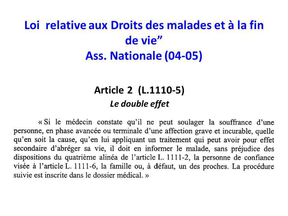 Loi relative aux Droits des malades et à la fin de vie Ass. Nationale (04-05) Article 2 (L.1110-5) Le double effet