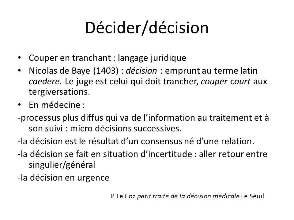 Décider/décision Couper en tranchant : langage juridique Nicolas de Baye (1403) : décision : emprunt au terme latin caedere. Le juge est celui qui doi