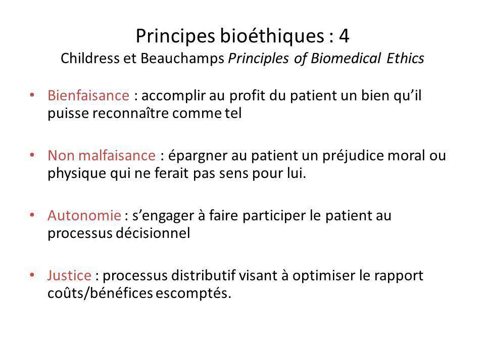 Principes bioéthiques : 4 Childress et Beauchamps Principles of Biomedical Ethics Bienfaisance : accomplir au profit du patient un bien quil puisse re