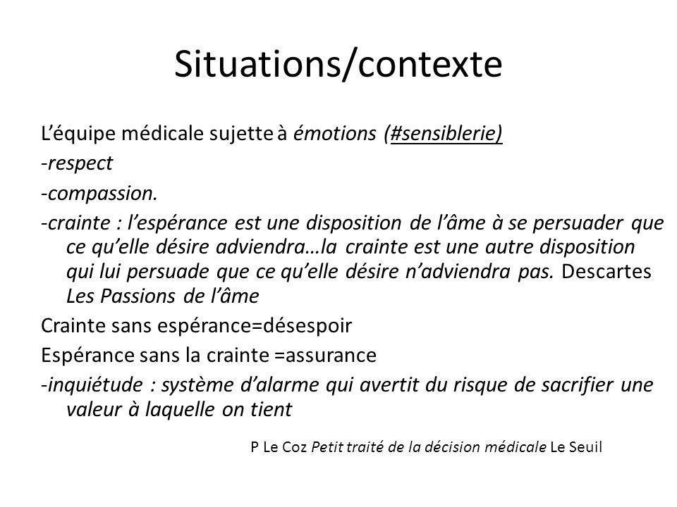 Situations/contexte Léquipe médicale sujette à émotions (#sensiblerie) -respect -compassion. -crainte : lespérance est une disposition de lâme à se pe