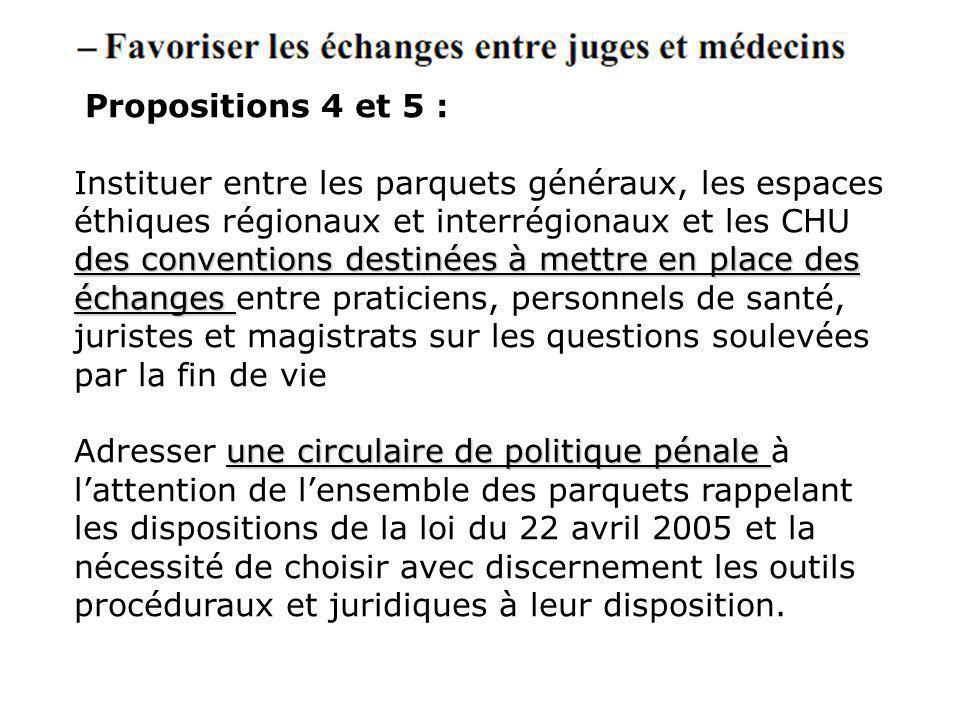 Propositions 4 et 5 : des conventions destinées à mettre en place des échanges Instituer entre les parquets généraux, les espaces éthiques régionaux e