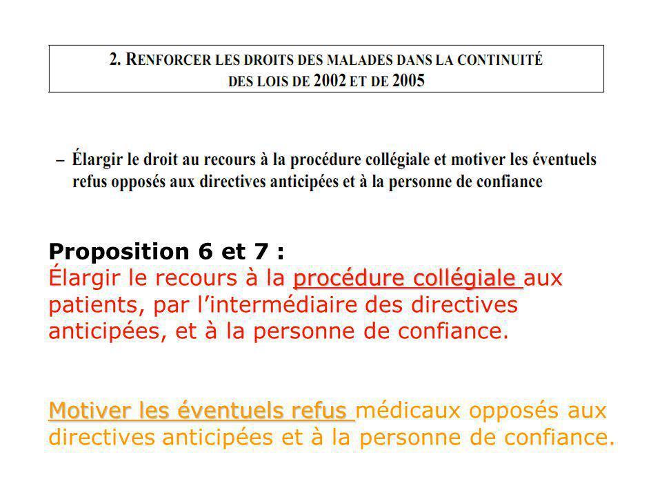 Proposition 6 et 7 : procédure collégiale Élargir le recours à la procédure collégiale aux patients, par lintermédiaire des directives anticipées, et à la personne de confiance.