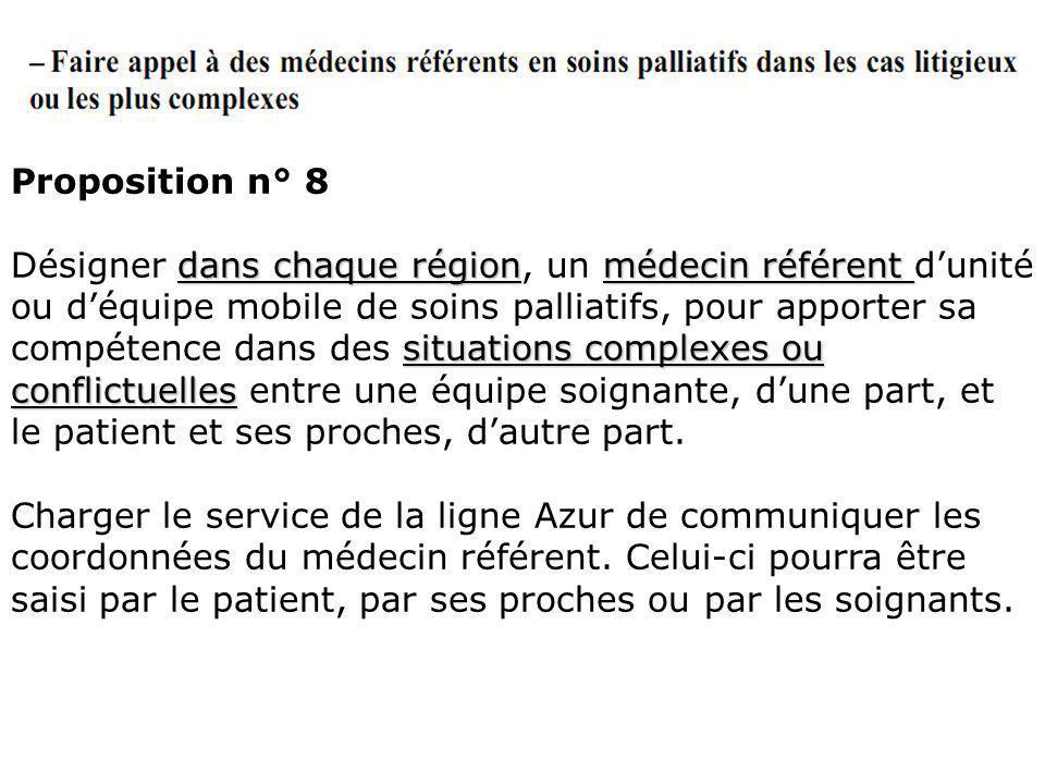Proposition n° 8 dans chaque régionmédecin référent situations complexes ou conflictuelles Désigner dans chaque région, un médecin référent dunité ou