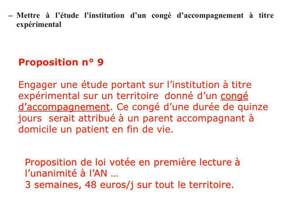 Proposition n° 9 congé daccompagnement Engager une étude portant sur linstitution à titre expérimental sur un territoire donné dun congé daccompagnement.