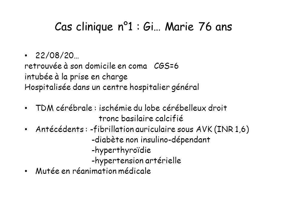 Cas clinique n°1 : Gi… Marie 76 ans 22/08/20… retrouvée à son domicile en coma CGS=6 intubée à la prise en charge Hospitalisée dans un centre hospitalier général TDM cérébrale : ischémie du lobe cérébelleux droit tronc basilaire calcifié Antécédents : -fibrillation auriculaire sous AVK (INR 1,6) -diabète non insulino-dépendant -hyperthyroïdie -hypertension artérielle Mutée en réanimation médicale