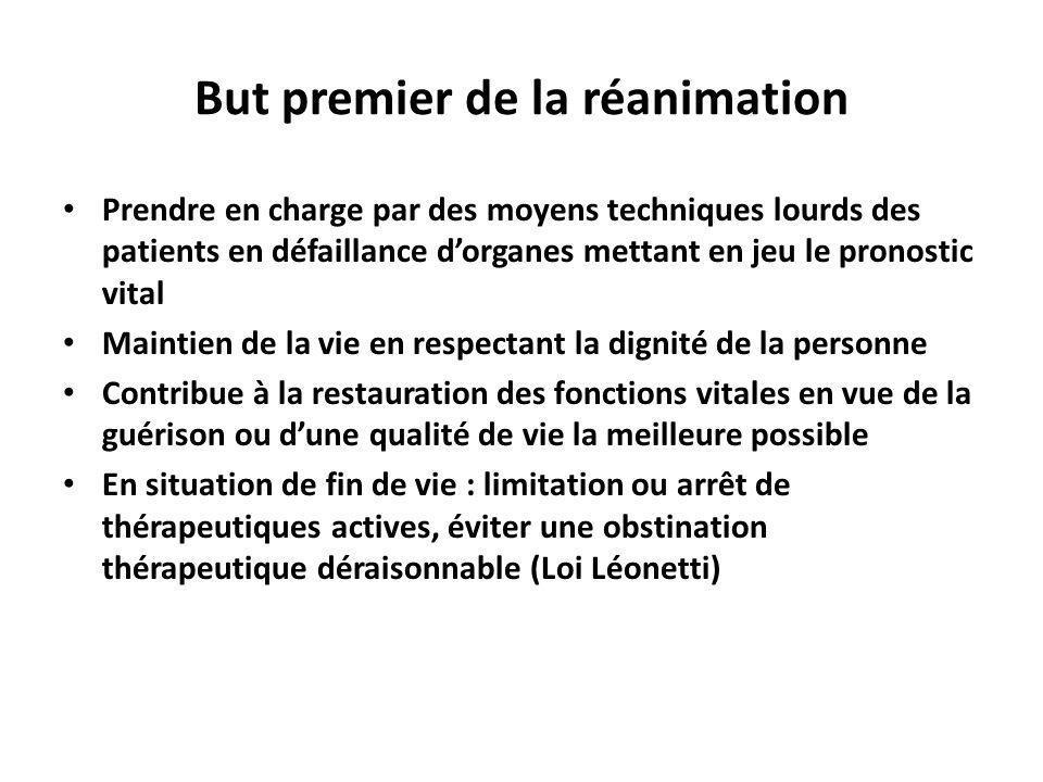 But premier de la réanimation Prendre en charge par des moyens techniques lourds des patients en défaillance dorganes mettant en jeu le pronostic vita