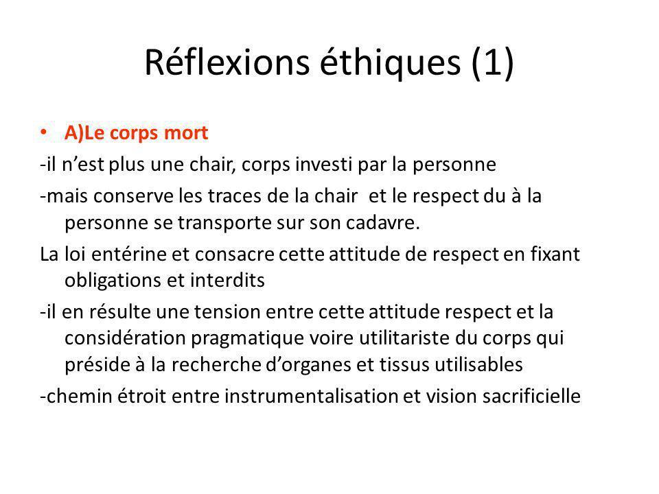 Réflexions éthiques (1) A)Le corps mort -il nest plus une chair, corps investi par la personne -mais conserve les traces de la chair et le respect du à la personne se transporte sur son cadavre.