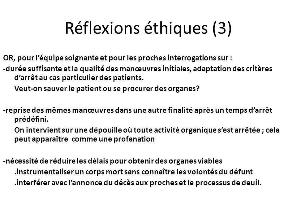 Réflexions éthiques (3) OR, pour léquipe soignante et pour les proches interrogations sur : -durée suffisante et la qualité des manœuvres initiales, adaptation des critères darrêt au cas particulier des patients.