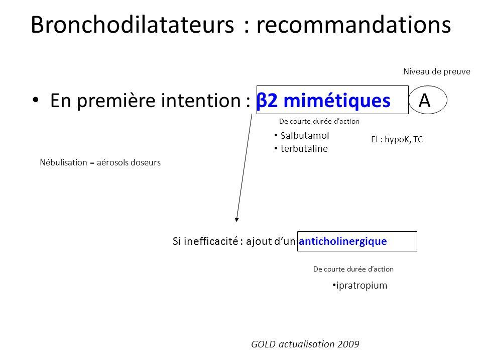 Bronchodilatateurs : recommandations En première intention : β2 mimétiques A Niveau de preuve De courte durée daction Si inefficacité : ajout dun anti