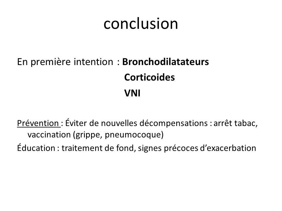 conclusion En première intention : Bronchodilatateurs Corticoides VNI Prévention : Éviter de nouvelles décompensations : arrêt tabac, vaccination (grippe, pneumocoque) Éducation : traitement de fond, signes précoces dexacerbation