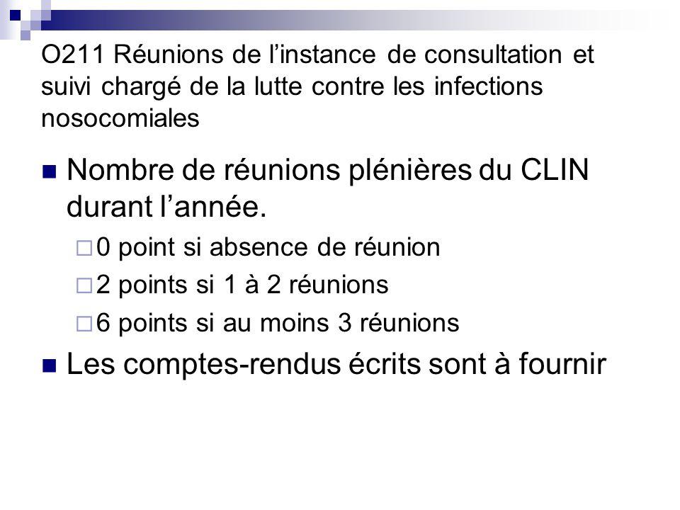 O211 Réunions de linstance de consultation et suivi chargé de la lutte contre les infections nosocomiales Nombre de réunions plénières du CLIN durant