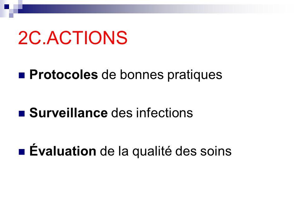 2C.ACTIONS Protocoles de bonnes pratiques Surveillance des infections Évaluation de la qualité des soins