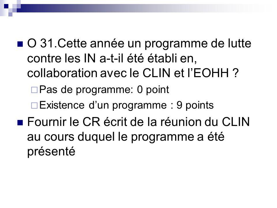 O 31.Cette année un programme de lutte contre les IN a-t-il été établi en, collaboration avec le CLIN et lEOHH ? Pas de programme: 0 point Existence d