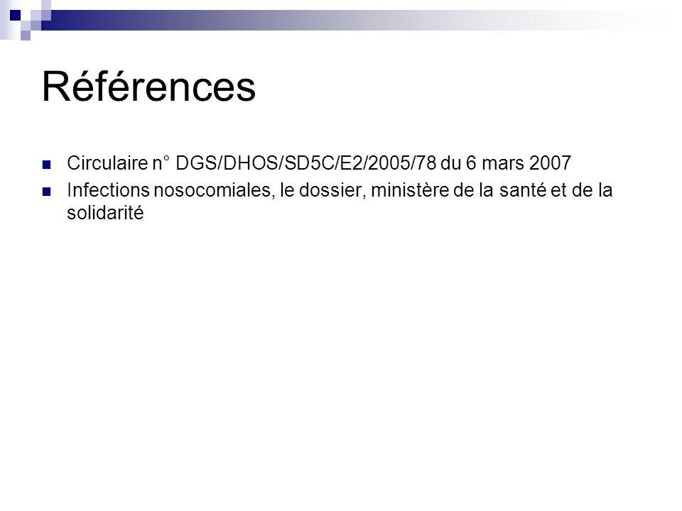Références Circulaire n° DGS/DHOS/SD5C/E2/2005/78 du 6 mars 2007 Infections nosocomiales, le dossier, ministère de la santé et de la solidarité