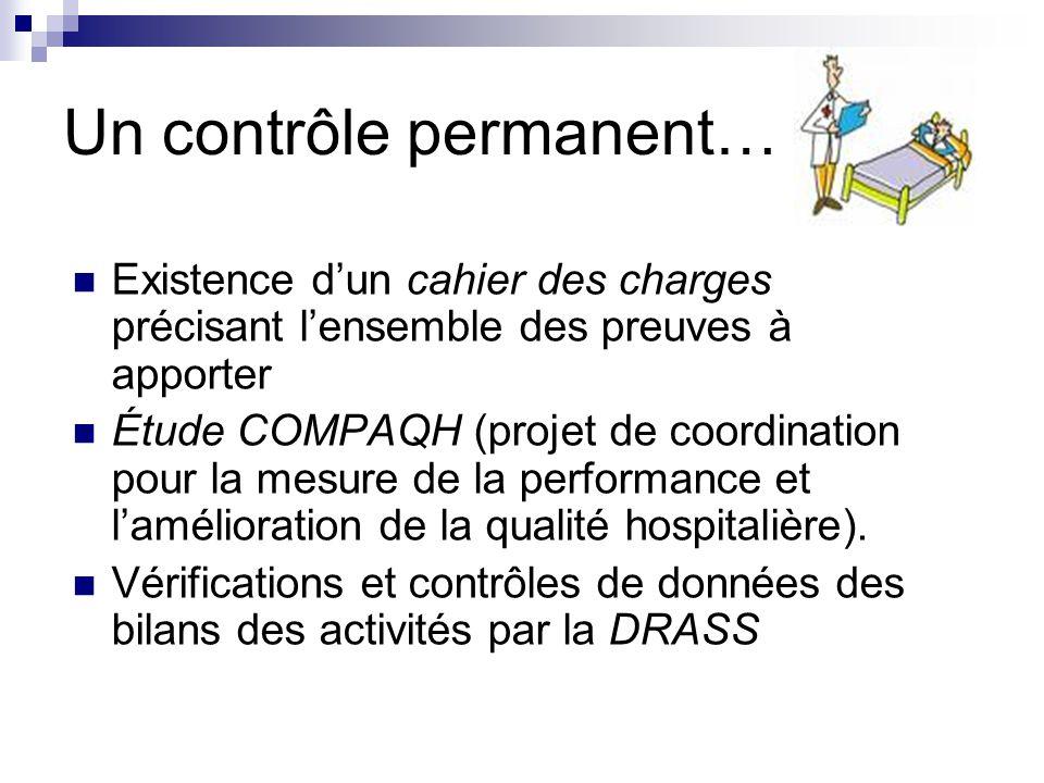 Un contrôle permanent… Existence dun cahier des charges précisant lensemble des preuves à apporter Étude COMPAQH (projet de coordination pour la mesur