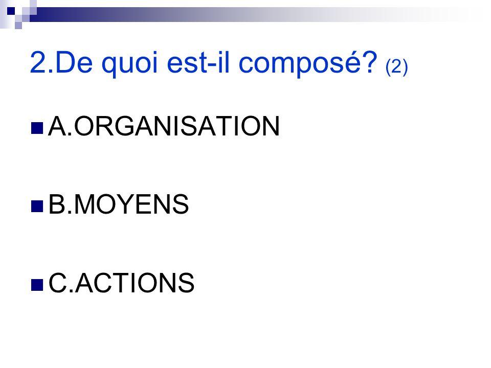 2.De quoi est-il composé? (2) A.ORGANISATION B.MOYENS C.ACTIONS