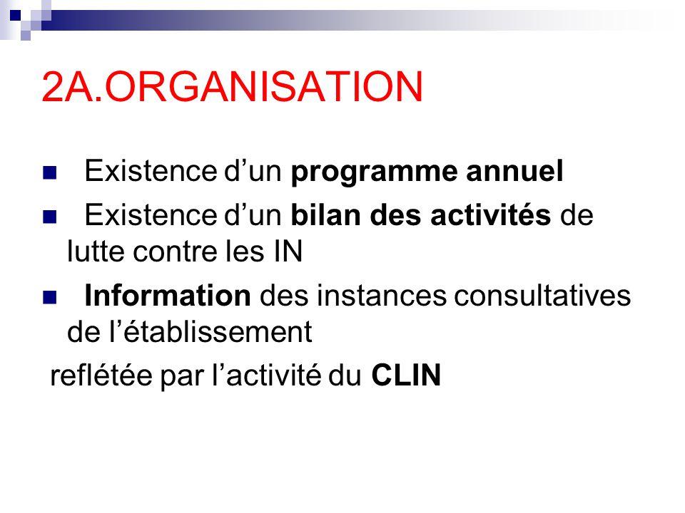2A.ORGANISATION Existence dun programme annuel Existence dun bilan des activités de lutte contre les IN Information des instances consultatives de lét