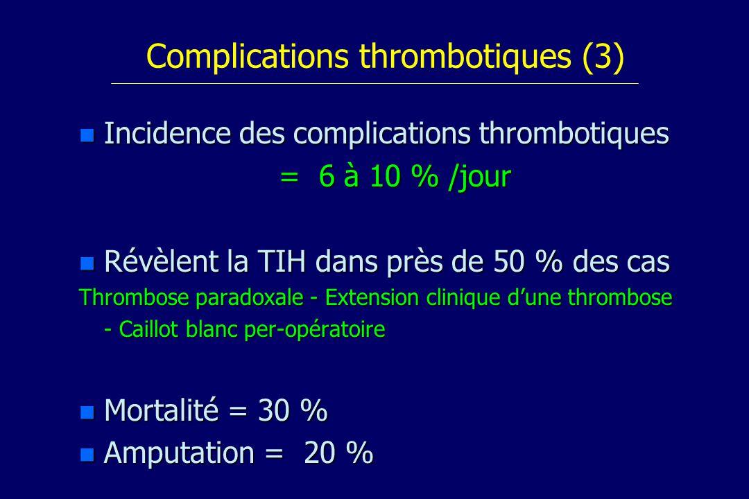 Complications thrombotiques (3) n Incidence des complications thrombotiques = 6 à 10 % /jour n Révèlent la TIH dans près de 50 % des cas Thrombose paradoxale - Extension clinique dune thrombose - Caillot blanc per-opératoire n Mortalité = 30 % n Amputation = 20 %