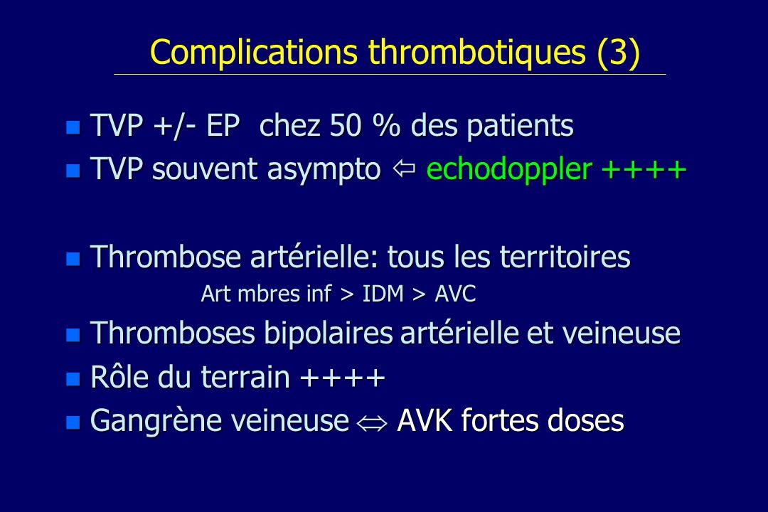 Complications thrombotiques (3) n TVP +/- EP chez 50 % des patients n TVP souvent asympto echodoppler ++++ n Thrombose artérielle: tous les territoire