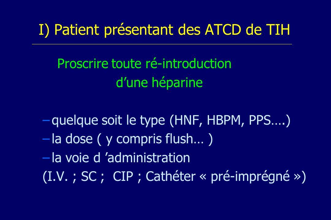 I) Patient présentant des ATCD de TIH Proscrire toute ré-introduction dune héparine – –quelque soit le type (HNF, HBPM, PPS….) – –la dose ( y compris flush… ) – –la voie d administration (I.V.