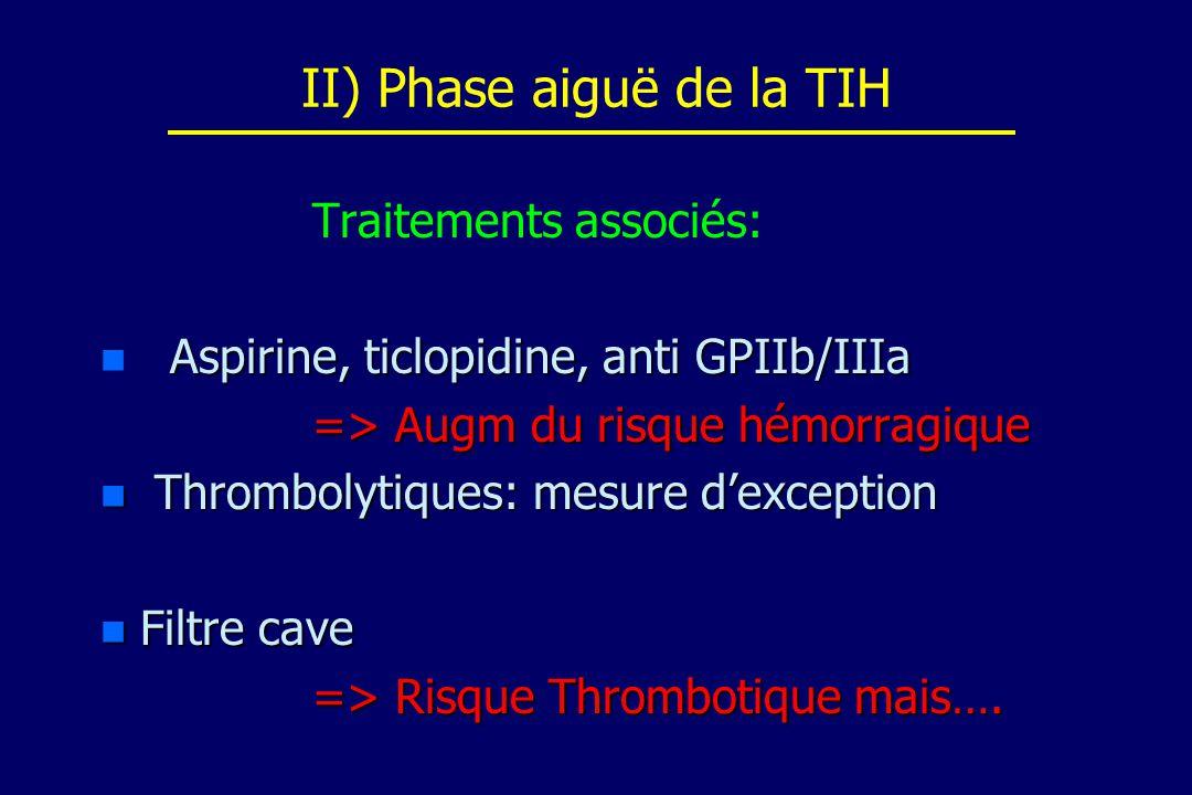 II) Phase aiguë de la TIH Traitements associés: n Aspirine, ticlopidine, anti GPIIb/IIIa => Augm du risque hémorragique n Thrombolytiques: mesure dexc