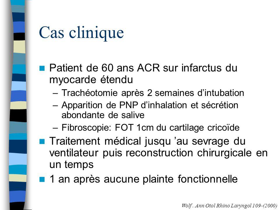 Cas clinique Patient de 60 ans ACR sur infarctus du myocarde étendu –Trachéotomie après 2 semaines dintubation –Apparition de PNP dinhalation et sécré