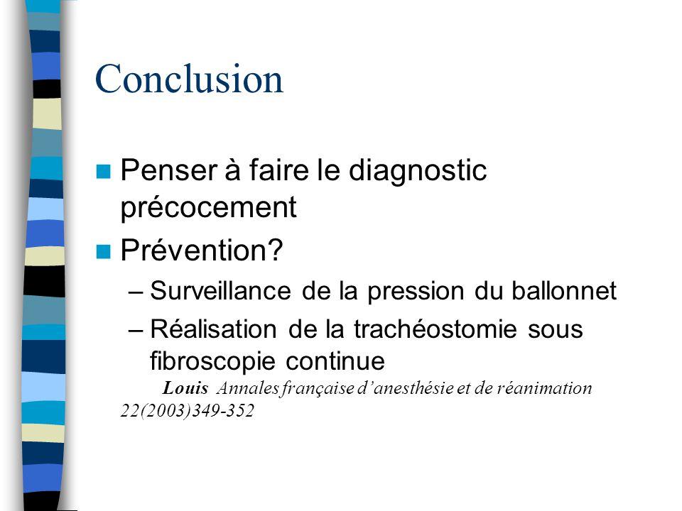 Conclusion Penser à faire le diagnostic précocement Prévention? –Surveillance de la pression du ballonnet –Réalisation de la trachéostomie sous fibros