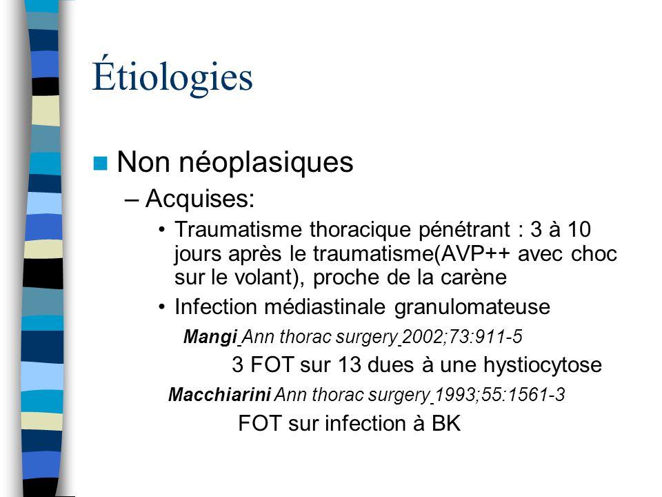 Étiologies Non néoplasiques –Acquises: Traumatisme thoracique pénétrant : 3 à 10 jours après le traumatisme(AVP++ avec choc sur le volant), proche de