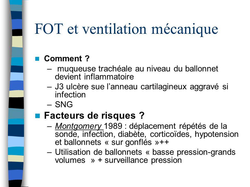 FOT et ventilation mécanique Comment ? – muqueuse trachéale au niveau du ballonnet devient inflammatoire –J3 ulcère sue lanneau cartilagineux aggravé