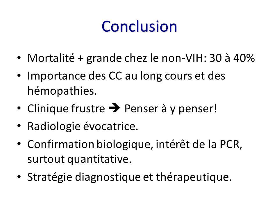 Conclusion Mortalité + grande chez le non-VIH: 30 à 40% Importance des CC au long cours et des hémopathies. Clinique frustre Penser à y penser! Radiol