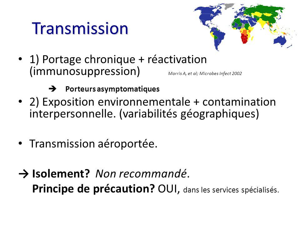 Transmission 1) Portage chronique + réactivation (immunosuppression) Morris A, et al; Microbes Infect 2002 Porteurs asymptomatiques 2) Exposition envi