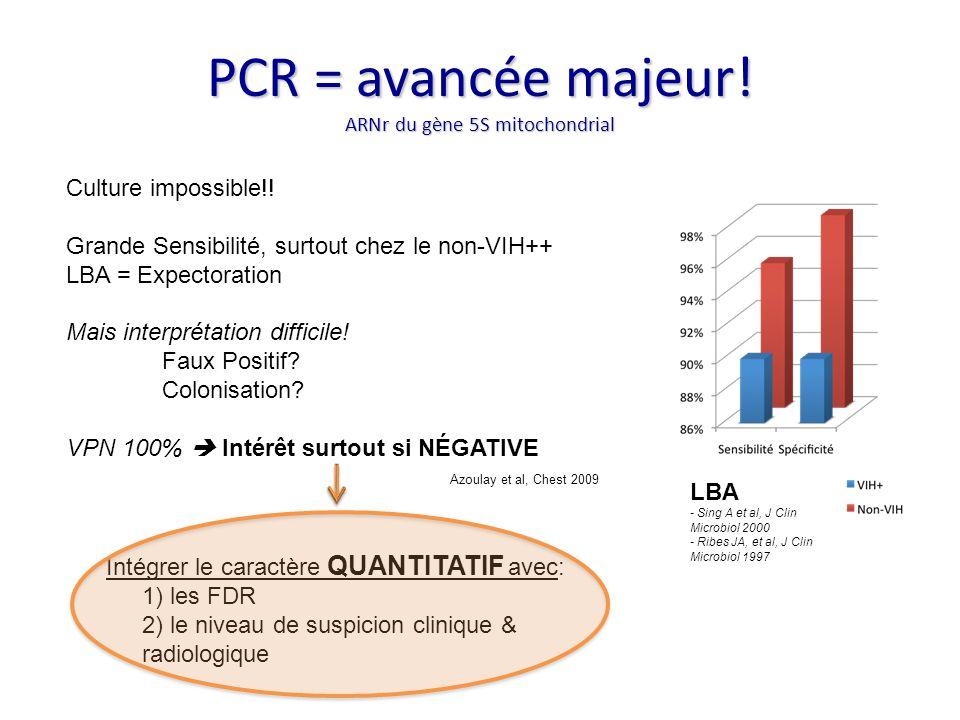 PCR = avancée majeur! ARNr du gène 5S mitochondrial LBA - Sing A et al, J Clin Microbiol 2000 - Ribes JA, et al, J Clin Microbiol 1997 Culture impossi