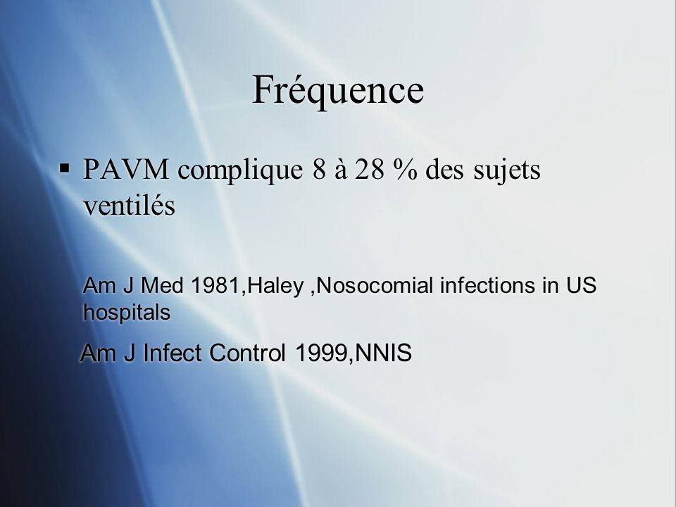Fréquence PAVM complique 8 à 28 % des sujets ventilés Am J Med 1981,Haley,Nosocomial infections in US hospitals Am J Infect Control 1999,NNIS PAVM complique 8 à 28 % des sujets ventilés Am J Med 1981,Haley,Nosocomial infections in US hospitals Am J Infect Control 1999,NNIS