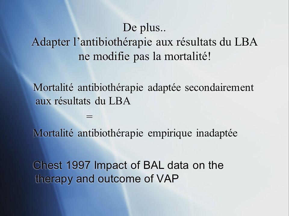 De plus.. Adapter lantibiothérapie aux résultats du LBA ne modifie pas la mortalité! Mortalité antibiothérapie adaptée secondairement aux résultats du