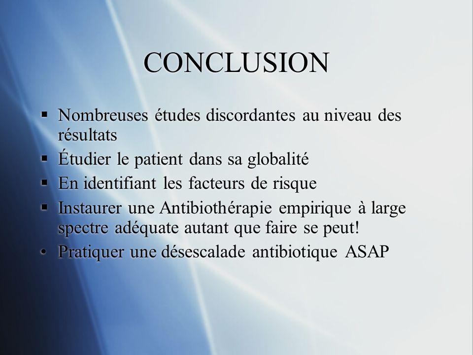 CONCLUSION Nombreuses études discordantes au niveau des résultats Étudier le patient dans sa globalité En identifiant les facteurs de risque Instaurer