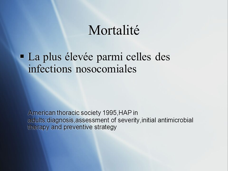 Mortalité La plus élevée parmi celles des infections nosocomiales American thoracic society 1995,HAP in adults:diagnosis,assessment of severity,initia