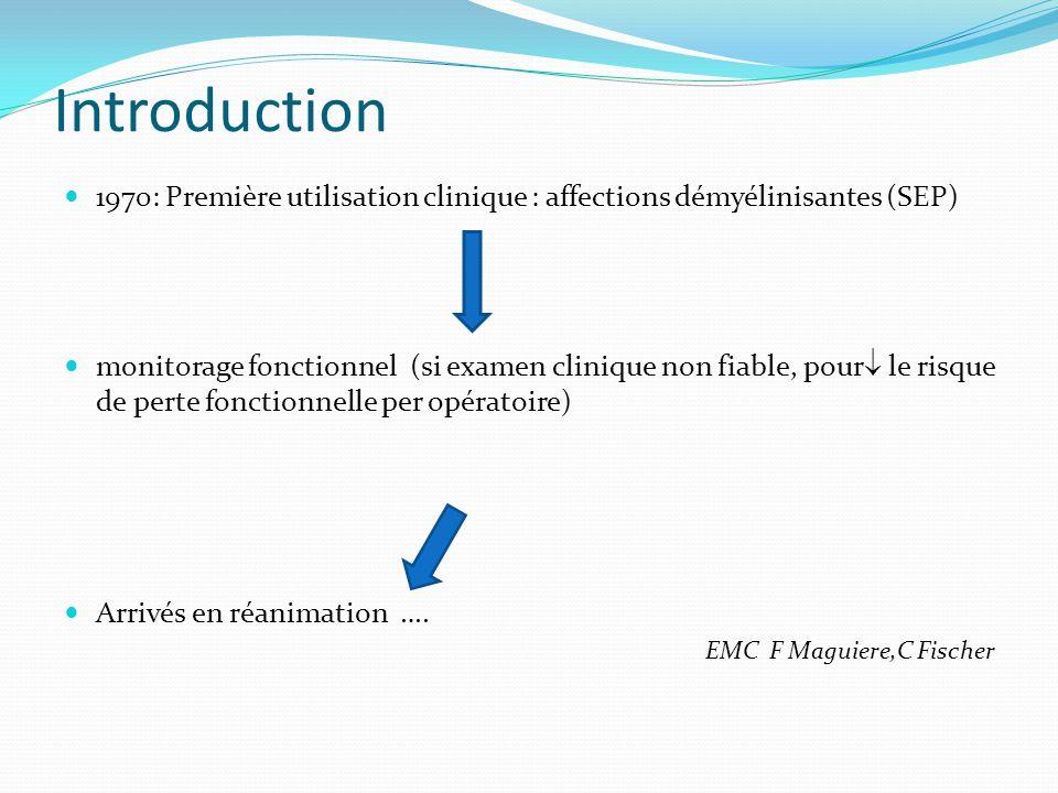 Introduction 1970: Première utilisation clinique : affections démyélinisantes (SEP) monitorage fonctionnel (si examen clinique non fiable, pour le ris