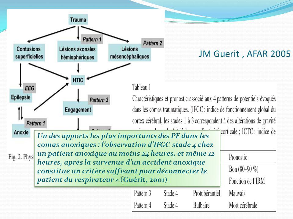 JM Guerit, AFAR 2005 Un des apports les plus importants des PE dans les comas anoxiques : lobservation dIFGC stade 4 chez un patient anoxique au moins