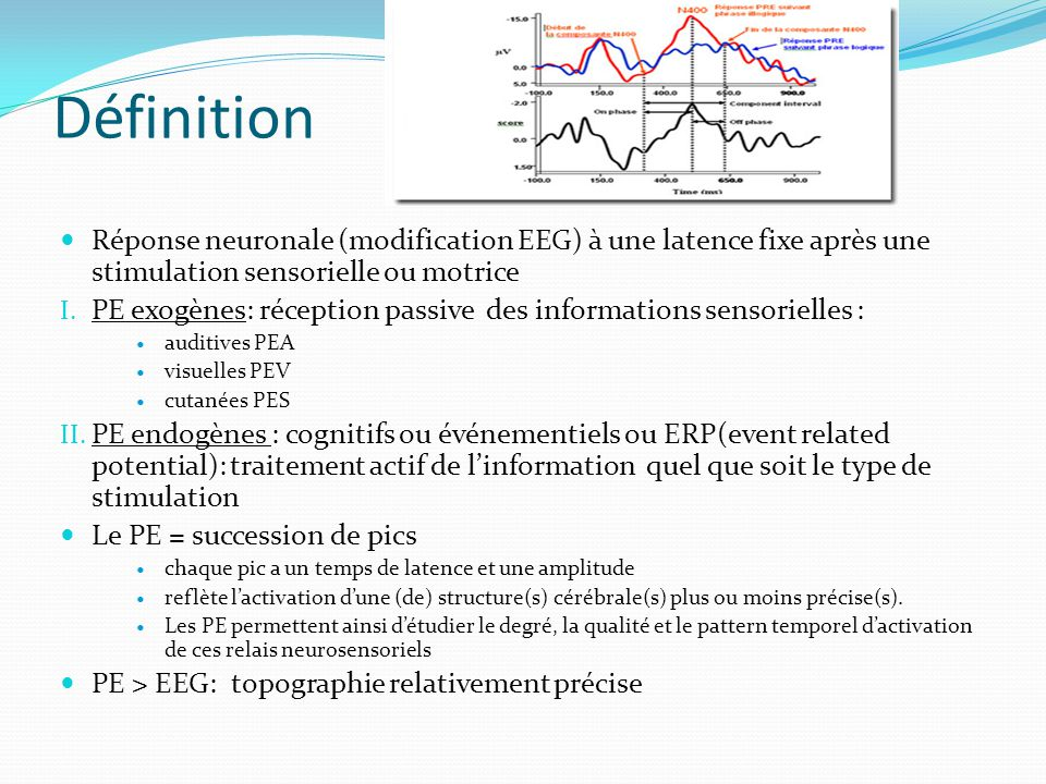 Définition Réponse neuronale (modification EEG) à une latence fixe après une stimulation sensorielle ou motrice I. PE exogènes: réception passive des