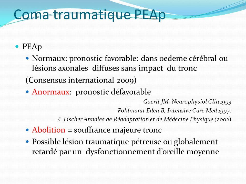 Coma traumatique PEAp PEAp Normaux: pronostic favorable: dans oedeme cérébral ou lésions axonales diffuses sans impact du tronc (Consensus internation