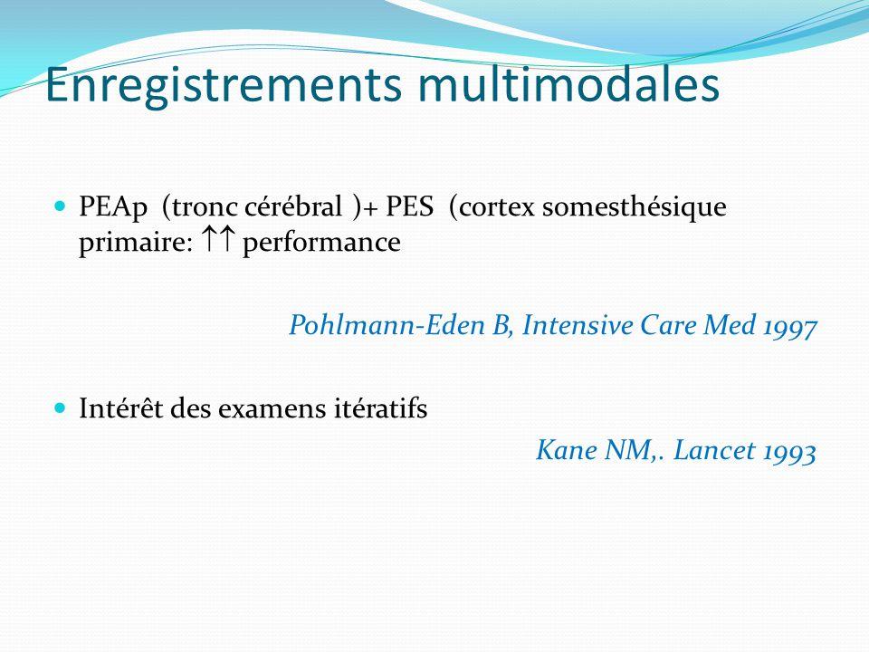 Enregistrements multimodales PEAp (tronc cérébral )+ PES (cortex somesthésique primaire: performance Pohlmann-Eden B, Intensive Care Med 1997 Intérêt