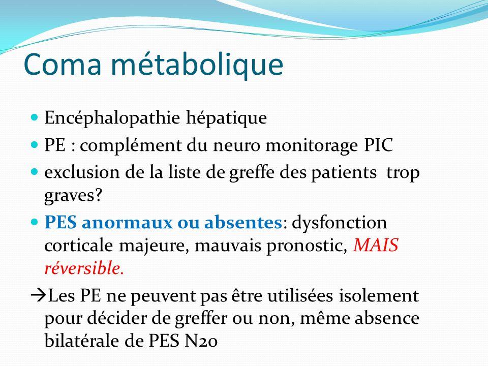 Coma métabolique Encéphalopathie hépatique PE : complément du neuro monitorage PIC exclusion de la liste de greffe des patients trop graves? PES anorm