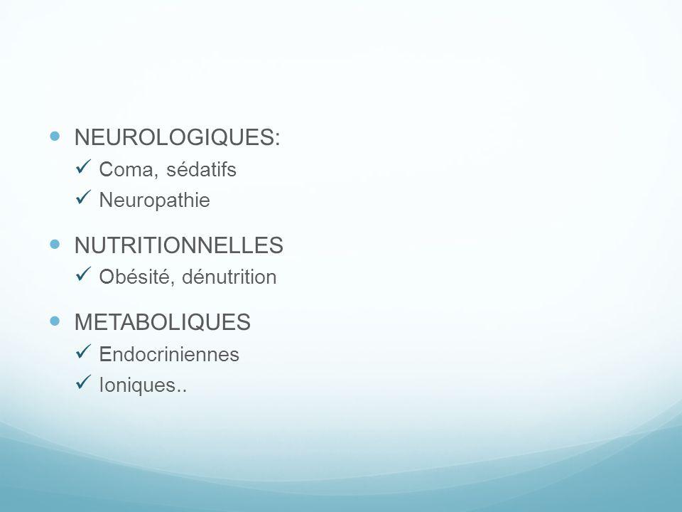 NEUROLOGIQUES: Coma, sédatifs Neuropathie NUTRITIONNELLES Obésité, dénutrition METABOLIQUES Endocriniennes Ioniques..