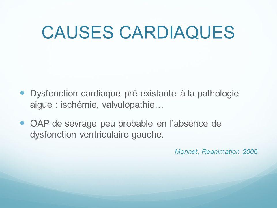 CAUSES CARDIAQUES Dysfonction cardiaque pré-existante à la pathologie aigue : ischémie, valvulopathie… OAP de sevrage peu probable en labsence de dysf