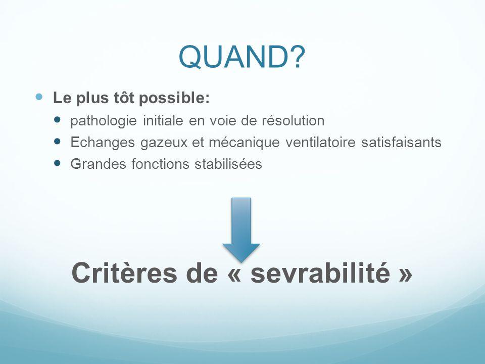 CRITERES DE SEVRABILITE Toux efficace, absence de sécrétions abondantes PaO 2 /FiO 2 150 ou Saturation>90% sous FiO 2 40% et PEEP 8 fr 35/min; NIF -20 à -25cmH 2 O ;VT>5ml/kg ;VM>10ml/kg; fr/Vt<105 Absence dacidose respiratoire significative FC 140/min; PAS 90-160mmHg peu ou pas de vasopresseurs Absence de sédatif (sauf la nuit) réponse correcte à lordre simple Pas de critères sur température et hémoglobine MISE EN VS