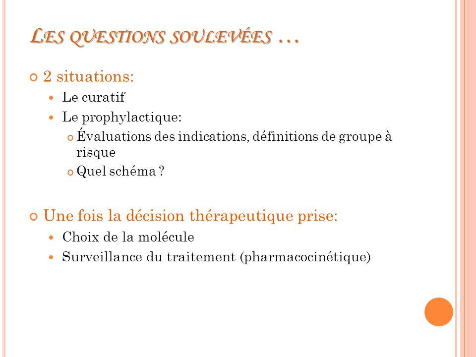 L ES QUESTIONS SOULEVÉES … 2 situations: Le curatif Le prophylactique: Évaluations des indications, définitions de groupe à risque Quel schéma .
