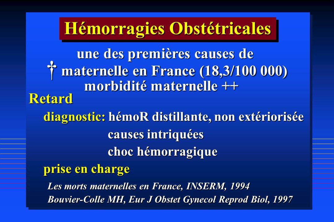 Retard diagnostic: hémoR distillante, non extériorisée causes intriquées causes intriquées choc hémorragique choc hémorragique prise en charge une des