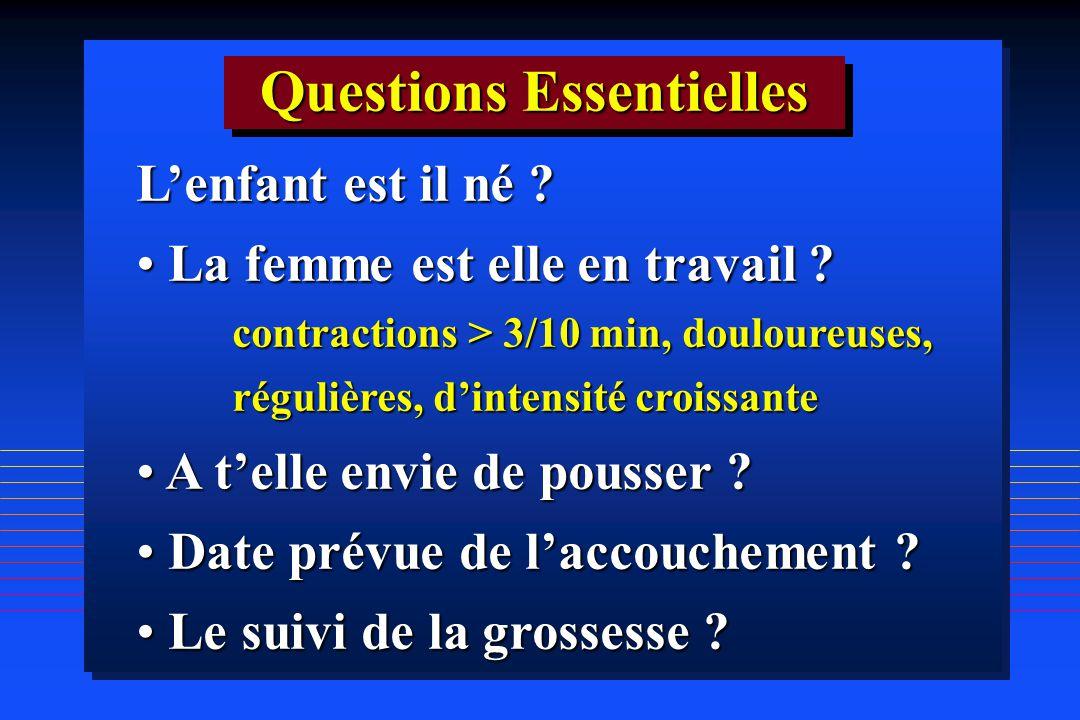 Lenfant est il né ? La femme est elle en travail ? La femme est elle en travail ? contractions > 3/10 min, douloureuses, régulières, dintensité croiss