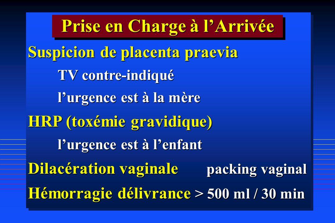 Suspicion de placenta praevia TV contre-indiqué lurgence est à la mère HRP (toxémie gravidique) lurgence est à lenfant Dilacération vaginale packing v